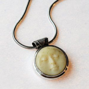 Balinese Artisan Carved Moon Pendant Necklace
